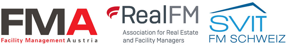 Logos von Facility Management Austria (FMA), Association for Real Estate and Facility Management Real FM und svitFM